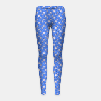 Thumbnail image of Blue and White Flowers  Girl's leggings, Live Heroes
