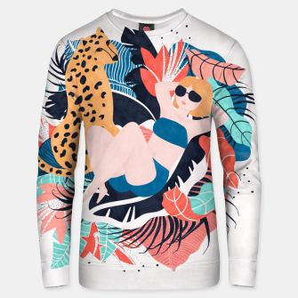 Thumbnail image of Yellow Hair Tropical Girl with Cheetah Cotton sweater, Live Heroes