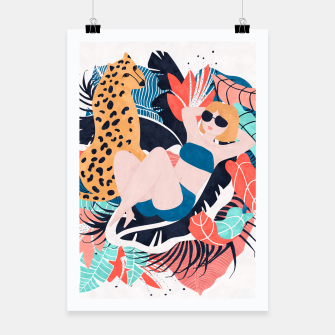 Thumbnail image of Yellow Hair Tropical Girl with Cheetah Poster, Live Heroes