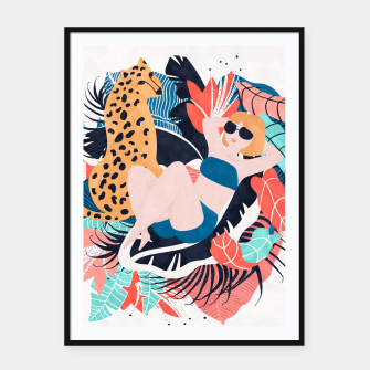 Thumbnail image of Yellow Hair Tropical Girl with Cheetah Framed poster, Live Heroes
