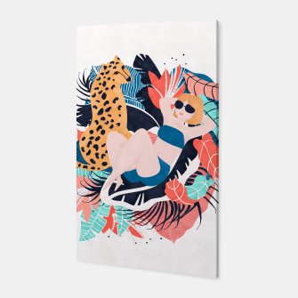 Thumbnail image of Yellow Hair Tropical Girl with Cheetah Canvas, Live Heroes