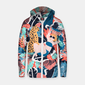 Miniature de image de Yellow Hair Tropical Girl with Cheetah Cotton zip up hoodie, Live Heroes