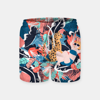 Yellow Hair Tropical Girl with Cheetah Swim Shorts thumbnail image
