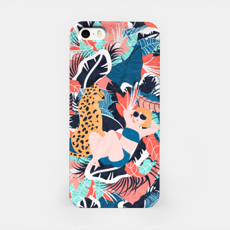 Yellow Hair Tropical Girl with Cheetah iPhone Case thumbnail image