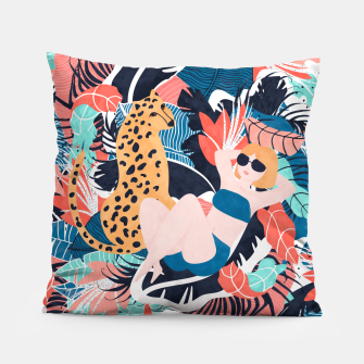 Yellow Hair Tropical Girl with Cheetah Pillow thumbnail image