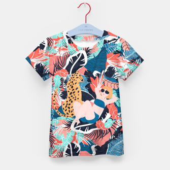 Yellow Hair Tropical Girl with Cheetah Kid's t-shirt thumbnail image