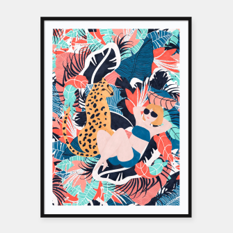 Yellow Hair Tropical Girl with Cheetah Framed poster thumbnail image