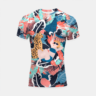 Yellow Hair Tropical Girl with Cheetah Shortsleeve rashguard thumbnail image