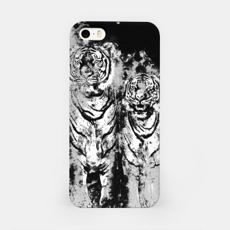 Thumbnail image of gxp tiger paar couple watercolor splatter wasserfarbe spritzer grau gray iPhone-Hülle, Live Heroes