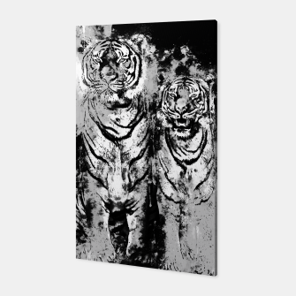 Thumbnail image of gxp tiger paar couple watercolor splatter wasserfarbe spritzer grau gray Canvas, Live Heroes
