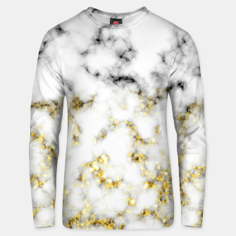 Thumbnail image of Black and white marble gold sparkle flakes Cotton sweater, Live Heroes