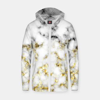 Thumbnail image of Black and white marble gold sparkle flakes Cotton zip up hoodie, Live Heroes