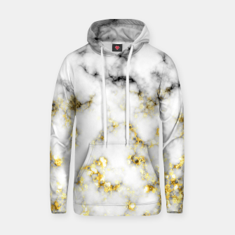 Thumbnail image of Black and white marble gold sparkle flakes Cotton hoodie, Live Heroes
