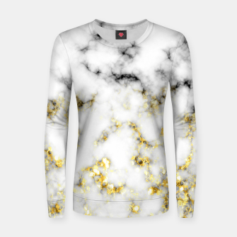 Thumbnail image of Black and white marble gold sparkle flakes Woman cotton sweater, Live Heroes