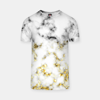Thumbnail image of Black and white marble gold sparkle flakes T-shirt, Live Heroes