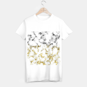 Miniaturka Black and white marble gold sparkle flakes T-shirt regular, Live Heroes