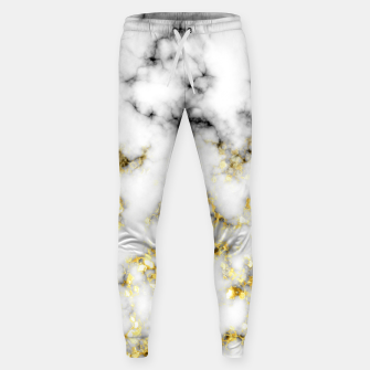 Thumbnail image of Black and white marble gold sparkle flakes Cotton sweatpants, Live Heroes