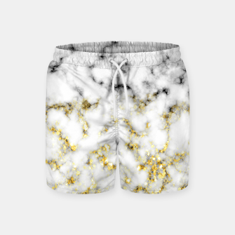 Thumbnail image of Black and white marble gold sparkle flakes Swim Shorts, Live Heroes