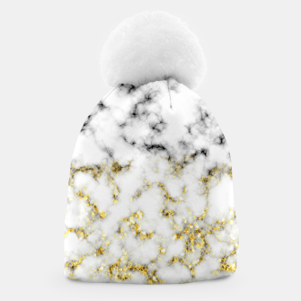 Thumbnail image of Black and white marble gold sparkle flakes Beanie, Live Heroes