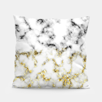 Thumbnail image of Black and white marble gold sparkle flakes Pillow, Live Heroes