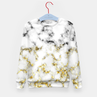 Thumbnail image of Black and white marble gold sparkle flakes Kid's sweater, Live Heroes