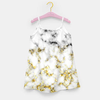 Thumbnail image of Black and white marble gold sparkle flakes Girl's dress, Live Heroes
