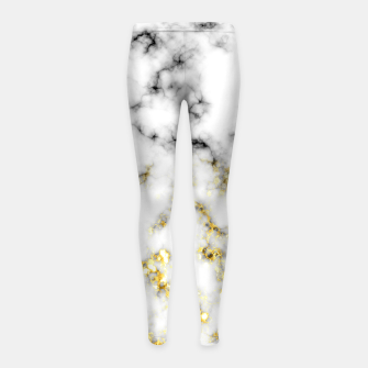 Thumbnail image of Black and white marble gold sparkle flakes Girl's leggings, Live Heroes