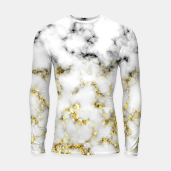 Thumbnail image of Black and white marble gold sparkle flakes Longsleeve rashguard , Live Heroes