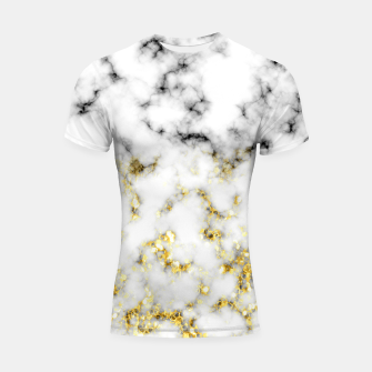 Thumbnail image of Black and white marble gold sparkle flakes Shortsleeve rashguard, Live Heroes