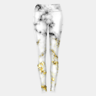 Thumbnail image of Black and white marble gold sparkle flakes Leggings, Live Heroes