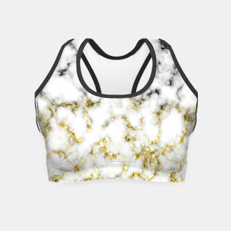 Thumbnail image of Black and white marble gold sparkle flakes Crop Top, Live Heroes