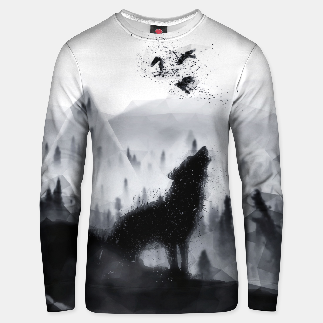 Image of The Lone Wolf - LowPoly Style Baumwoll sweatshirt - Live Heroes