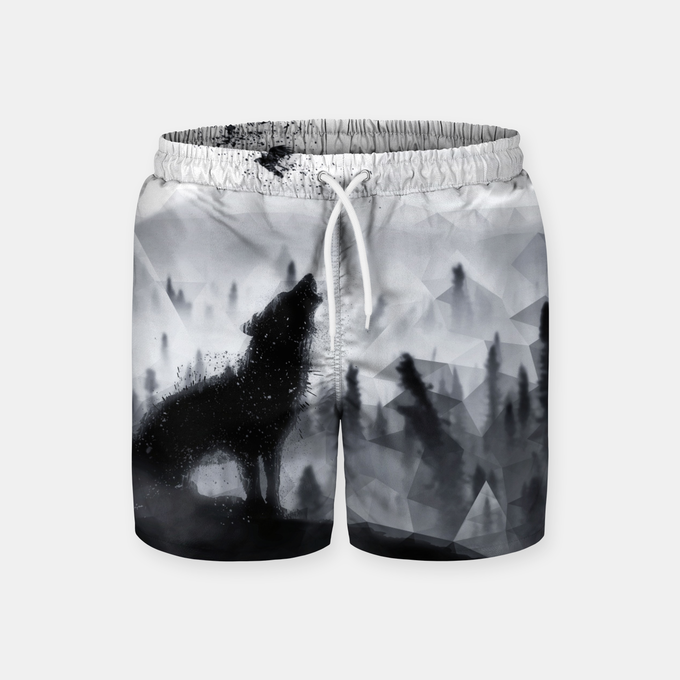 Image de The Lone Wolf - LowPoly Style Badeshorts - Live Heroes