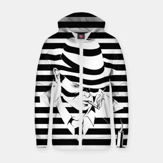 LOVE NOIR B&W Cotton zip up hoodie thumbnail image