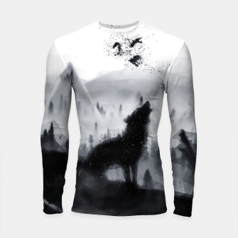 Thumbnail image of The Lone Wolf - LowPoly Style Longsleeve rashguard, Live Heroes