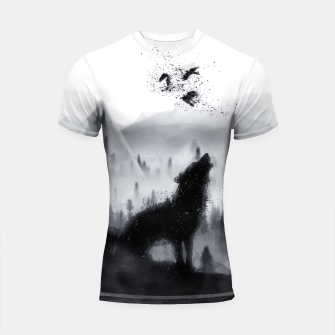 Miniatur The Lone Wolf - LowPoly Style Shortsleeve rashguard, Live Heroes
