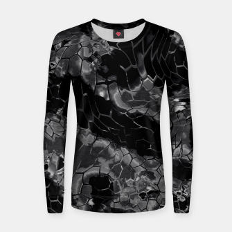 animal print design - black dragon scales skin pattern Frauen baumwoll sweatshirt Bild der Miniatur