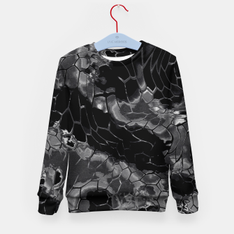 animal print design - black dragon scales skin pattern Kindersweatshirt Bild der Miniatur