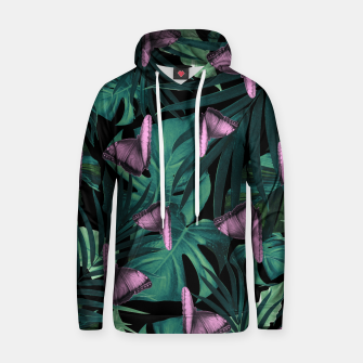 Thumbnail image of Tropical Butterfly Jungle Night Leaves Pattern #4 #tropical #decor #art  Baumwoll Kapuzenpullover, Live Heroes