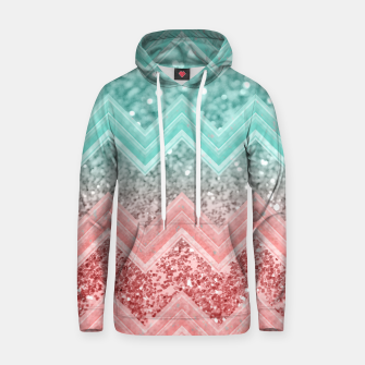 Thumbnail image of Summer Vibes Glitter Chevron #1 #coral #mint #shiny #decor #art  Baumwoll Kapuzenpullover, Live Heroes