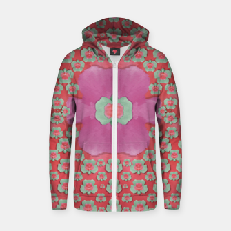 Thumbnail image of fantasy flowers in everything that is around us in a free environment  Cotton zip up hoodie, Live Heroes
