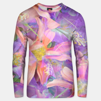 Thumbnail image of blooming pink daisy flower with purple flower background Cotton sweater, Live Heroes