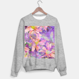 Thumbnail image of blooming pink daisy flower with purple flower background Sweater regular, Live Heroes