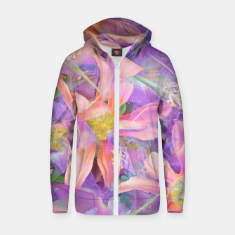 Thumbnail image of blooming pink daisy flower with purple flower background Cotton zip up hoodie, Live Heroes