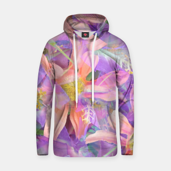 Thumbnail image of blooming pink daisy flower with purple flower background Cotton hoodie, Live Heroes