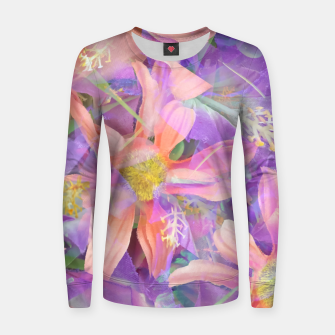 Thumbnail image of blooming pink daisy flower with purple flower background Woman cotton sweater, Live Heroes
