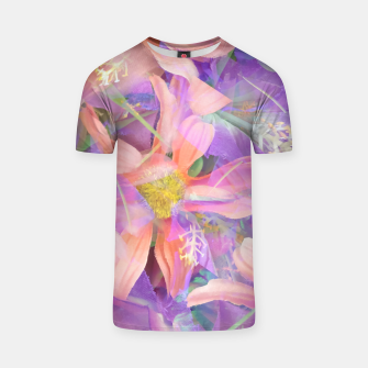Thumbnail image of blooming pink daisy flower with purple flower background T-shirt, Live Heroes