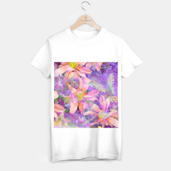 Thumbnail image of blooming pink daisy flower with purple flower background T-shirt regular, Live Heroes