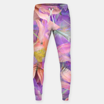 Thumbnail image of blooming pink daisy flower with purple flower background Cotton sweatpants, Live Heroes