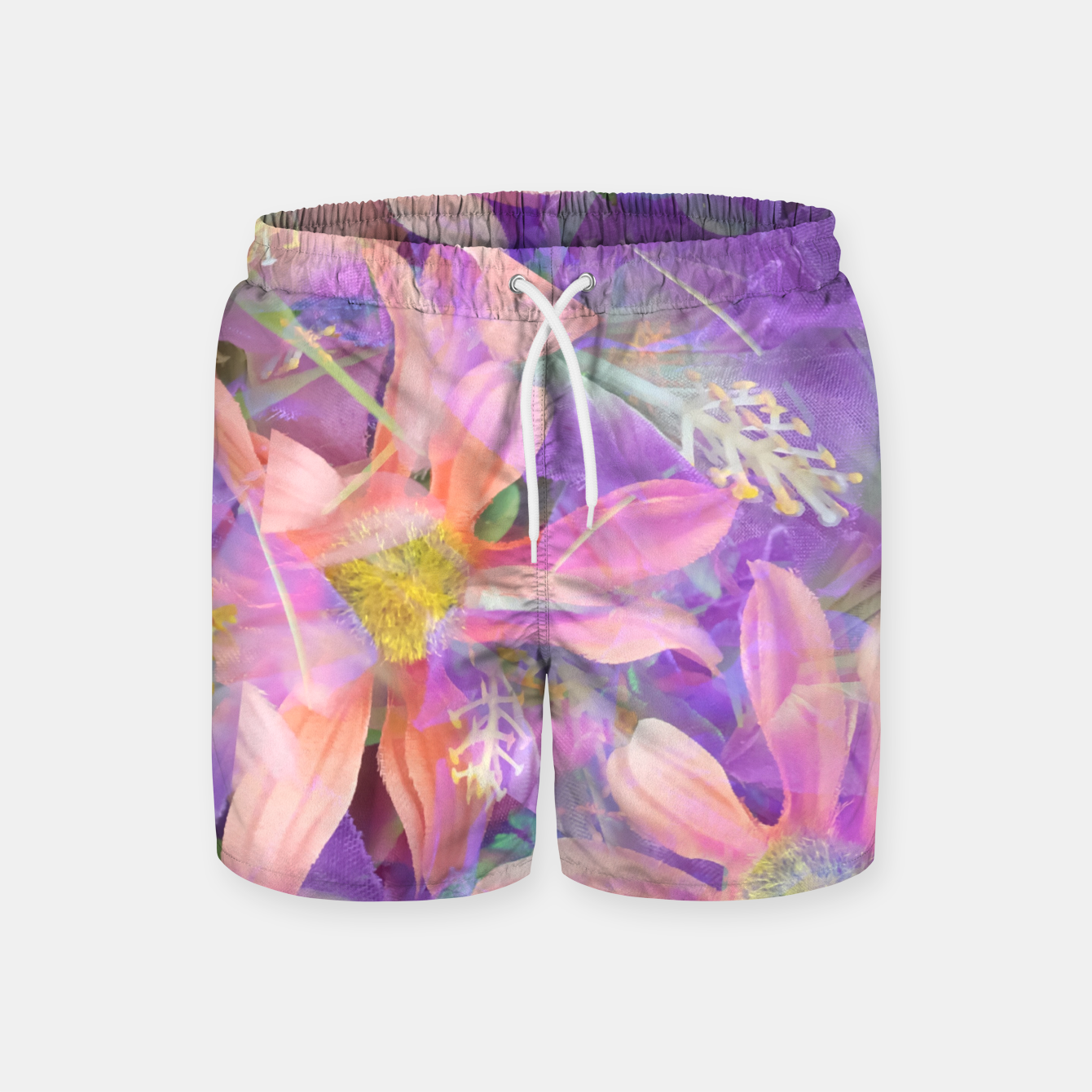 71ba3915ef blooming pink daisy flower with purple flower background Swim Shorts ...